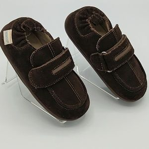 Robeez Brown Leather Moccasins sz 20-24 Months